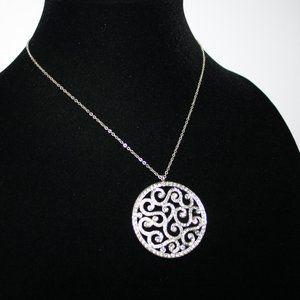 Vintagejelyfish Jewelry - Beautiful silver and rhinestone necklace adjust